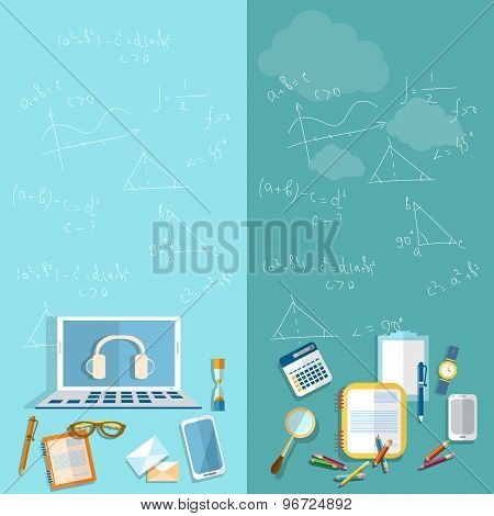 Education: Student, School, Teacher, University, College, Study Geometry, Mathematics, vector banner