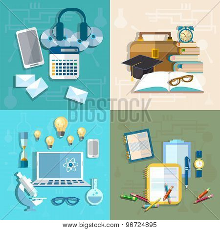 Education, Online Learning, Student, Research, Knowledge, College, Mail, vector Illustration