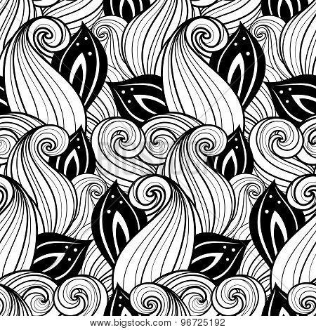 Vector Seamless Contour Floral Pattern. Hand Drawn Monochrome Floral Texture