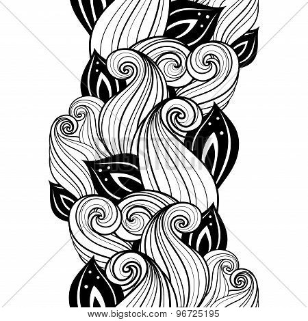 Vector Seamless Contour Floral Pattern. Hand Drawn Monochrome Floral Texture