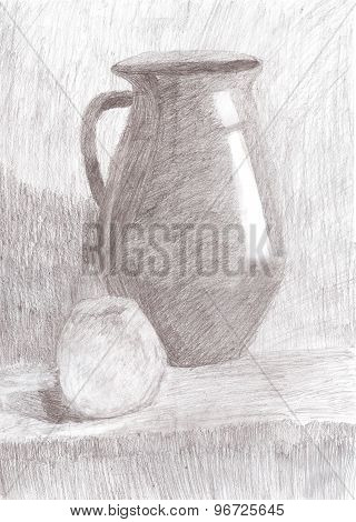 Drawing Still Life. Jug And Apple On The Table.