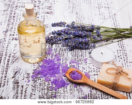 Spa Still Life With Lavender And Aroma Oil