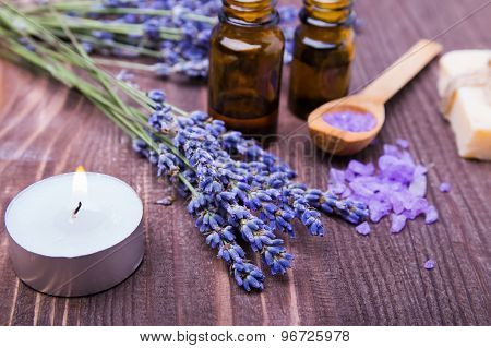 Spa Still Life With Lavender Flowers On The Wooden Background
