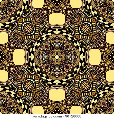 Seamless pattern from abstract  ornament brown yellow