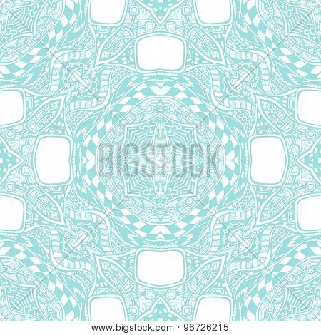 Seamless pattern from abstract  ornament light blue