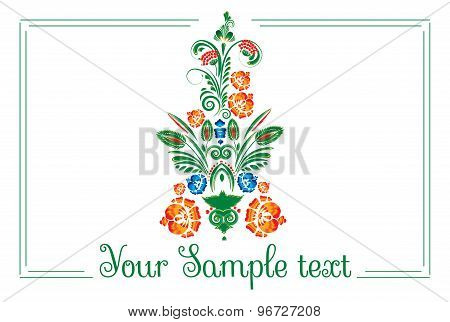 banner with floral ornament with elements of berries and leaves