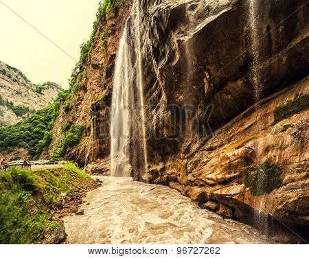 Chegem waterfalls in canyon and mountain rough river