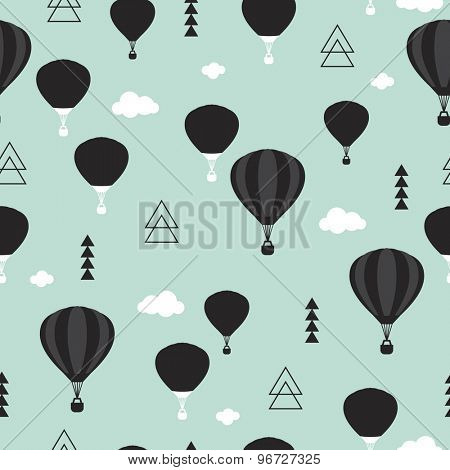 Seamless geometric hot air balloon illustration mint blue gender neutral Scandinavian style background pattern in vector
