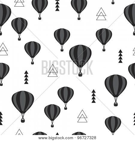 Seamless geometric hot air balloon illustration black and white gender neutral Scandinavian style background pattern in vector