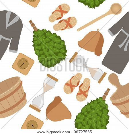 Sauna accessories seamless pattern
