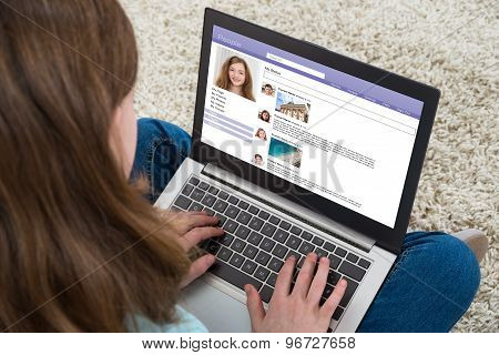 Girl Chatting On Social Website