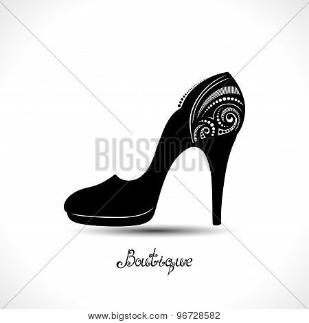 Vector Decorative Ornate Women's Shoe With Hand Drawn Incsription Boutique