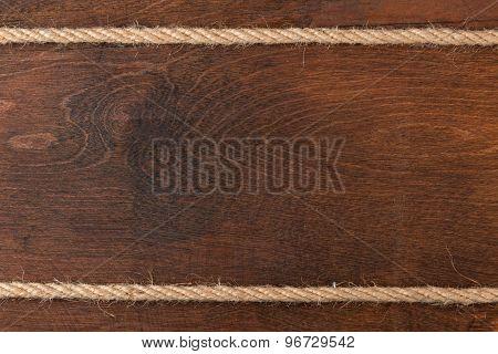 Rope On Wooden Dark  Background