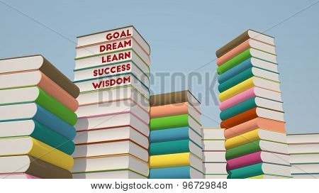 Stack Of Books With Blue Sky, 3D Rendering