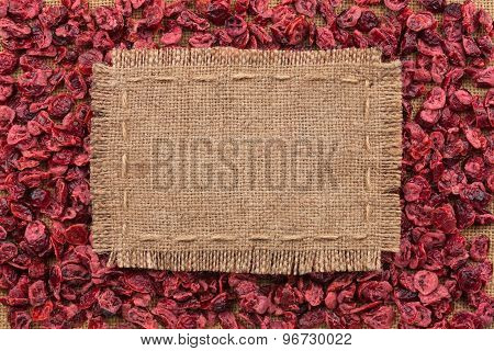 Frame Made Of Burlap On Dried Cranberries