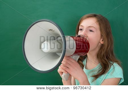 Girl Announcing On Megaphone