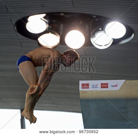 LONDON, GREAT BRITAIN - APRIL 25 2015: Tom Daley of Great Britain during the FINA/NVC Diving World Series at the London Aquatics Centre