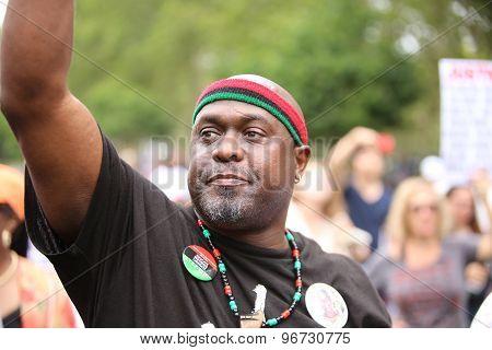 Activist with raised arm