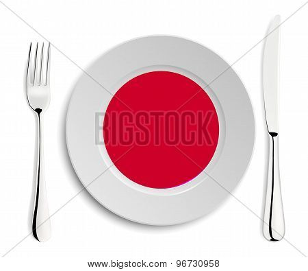 Plate with flag of Japan