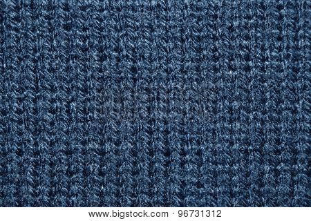Close up azure knitwear texture abstract background