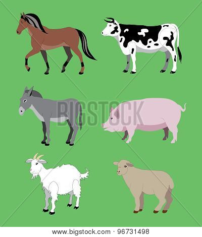 Animals from a farm.