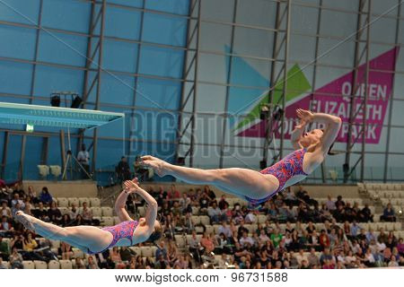 LONDON, GREAT BRITAIN - APRIL 25 2015: Rebecca Gallantree and Hannah Starling of Great Britain competing in the women's synchro 3m springboard during the FINA/NVC Diving World Series