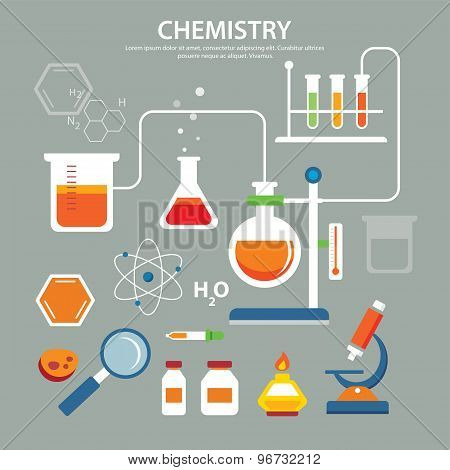 Chemistry Background Education Concept Flat Design