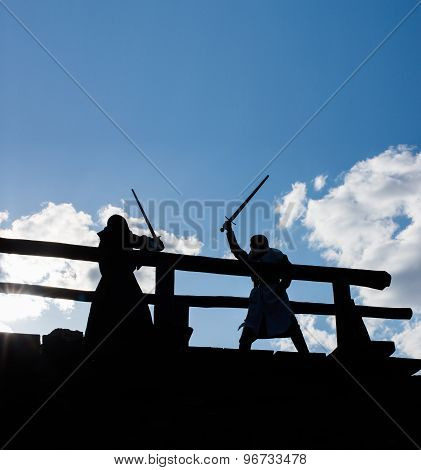 Ancient mystic knights silhouettes battle outdoors