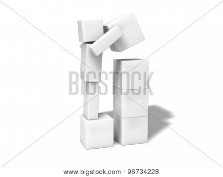Simple 3D Cubic Character.stacking Blocks.