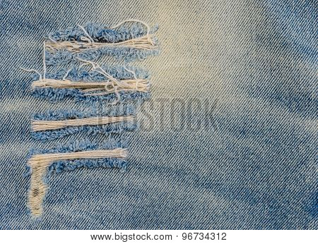 Texture Of Old Blue Jeans At Torn