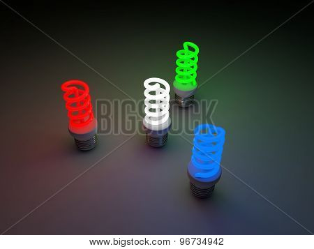 Red, Green, Blue And White Colored Fluorescent Lamps.