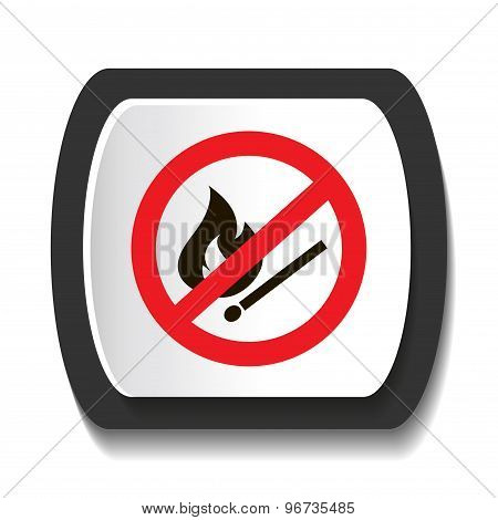 Icon prohibiting burning match