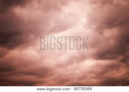 Dark Red Moody Stormy Clouds, Natural Sky Background