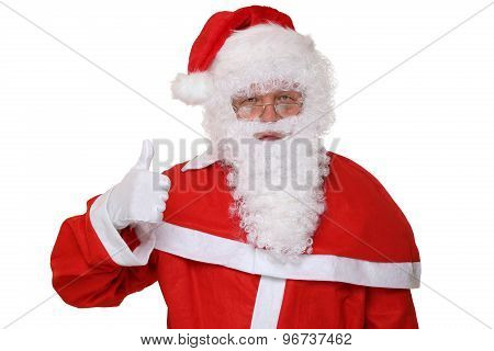 Santa Claus Showing On Christmas Thumbs Up Isolated