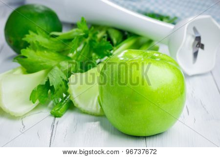 Ingredients For Green Smoothie With Apple, Celery And Lime