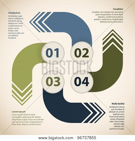 Cyclic Infographic Design With Four Arrows
