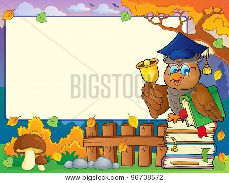 Autumn frame with owl teacher 6 - eps10 vector illustration.