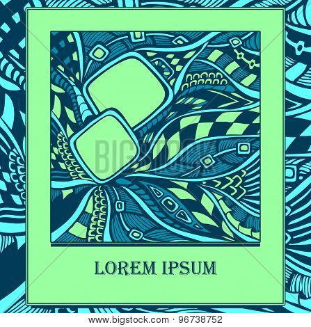 Template with  abstract doodles in  blue green