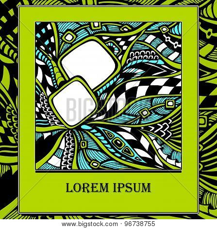 Template with  abstract doodles in  green
