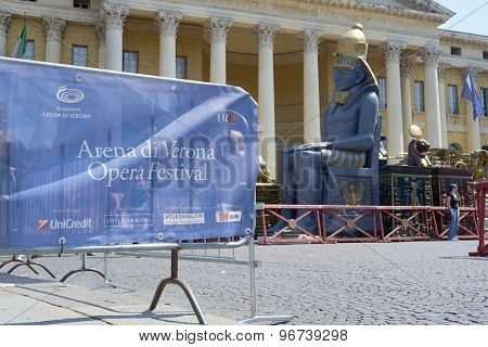 VERONA, ITALY - JULY 13: Prop of an Egiptian pharaoh outisde the Arena. July 13, 2015 in Verona. The Opera Festival is one of the main international events in the opera circuit.