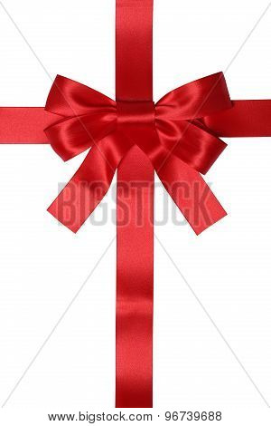 Red Ribbon Gift With Bow For Gifts On Christmas Or Valentines Day