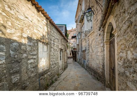 Budva ancient fortress narrow street