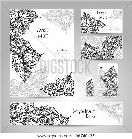 Set Template with doodle flowers in white black