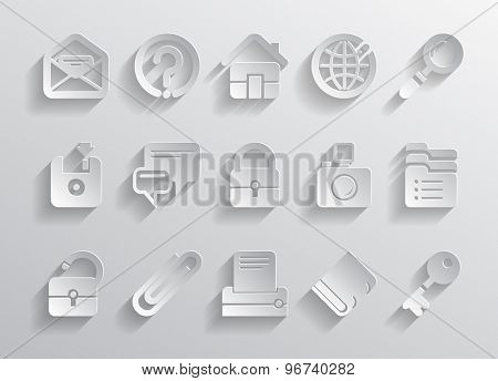 Paper website and internet icons. Vector illustration
