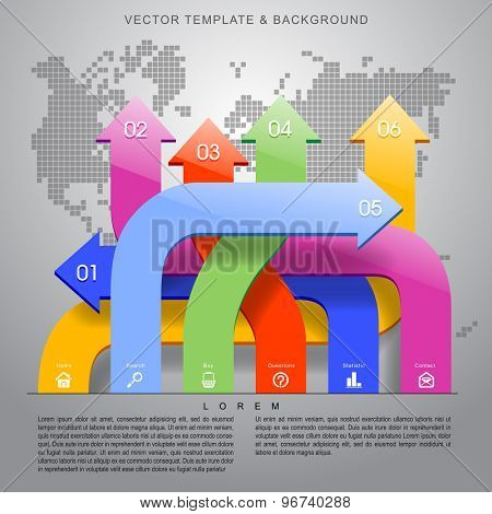 Web template and background with arrows in different colors, web icons and place for your content. Concept vector illustration
