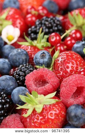 Berries Fruits With Strawberries, Blueberries And Cherries
