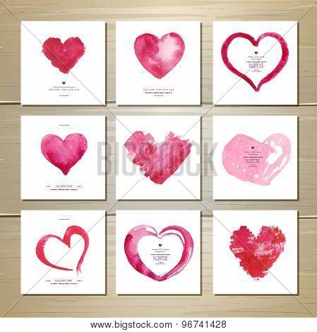 Set Of Artistic Watercolor Valentine Love Hearts