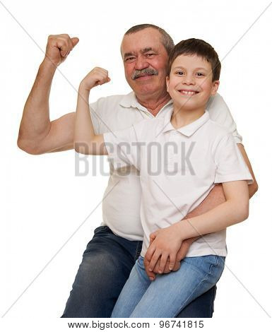 Senior and children show muscle hands on white