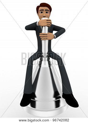 3D Man Sitting On Big Metalic Bell Concept