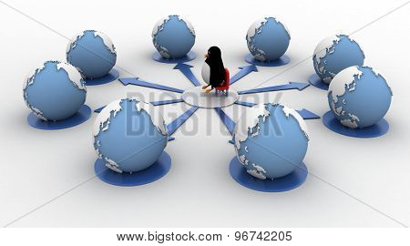 3D Penguin Standing On Center Of Network Of Many Earth Concept